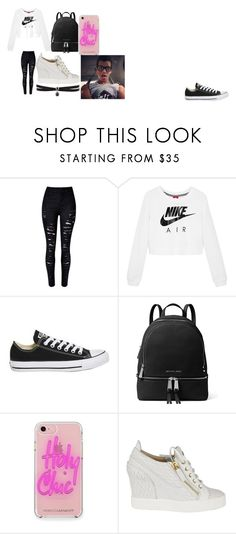 """that day you what your man wants it"" by hansen-diamond on Polyvore featuring NIKE, Topshop, MICHAEL Michael Kors, Rebecca Minkoff, Giuseppe Zanotti and Fallon"
