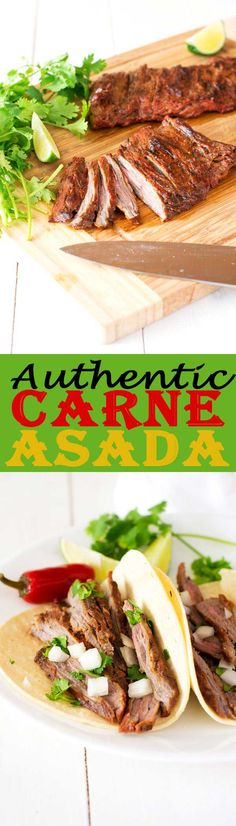 Treat yourself to Mexican at home with authentic carne asada! With a simple marinade that really lets the steak shine, this tender beef can be used in tacos, burrito bowls, salads and more! Entree Recipes, Grilling Recipes, Lunch Recipes, Easy Dinner Recipes, Beef Recipes, Easy Meals, Dinner Ideas, Carne Asada, Mexican Dishes