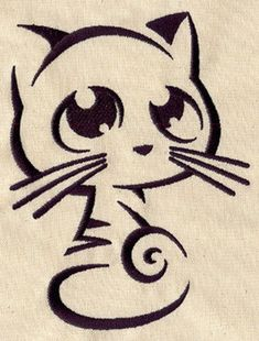 Grand Sewing Embroidery Designs At Home Ideas. Beauteous Finished Sewing Embroidery Designs At Home Ideas. Hand Embroidery Designs, Embroidery Patterns, Machine Embroidery, Chat Kawaii, Stencils, Urban Threads, Cat Drawing, Cat Art, Animal Drawings
