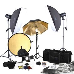 Customize and adjust the lighting setup to fit your subject perfectly using this studio kit's reflectors, color gels and honeycomb. Take expressive professional-grade photographs, even when you're awa