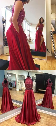 Sparkly Beaded Prom Dress, Sexy Burgundy Prom Dresses