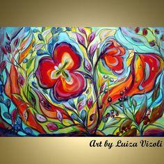 Original Whimsical Flowers Garden Whimsical by LUIZAVIZOLI on Etsy, $350.00