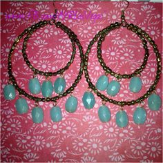 Double hoop gold and turquoise bead earrings