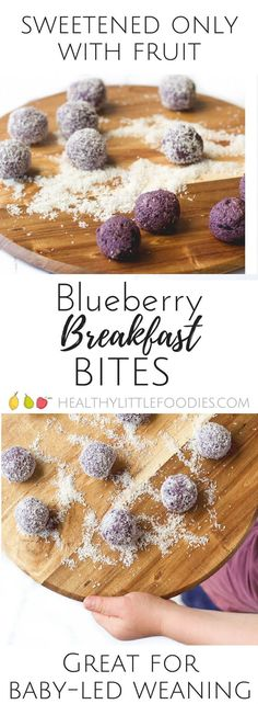 Blueberry, oats, peanut butter and oats blazed and rolled into balls. A healthy breakfast perfect for kids and babies. Blueberry Breakfast Balls - a vibrant, healthy breakfast. Perfect for kids and babies. Healthy Breakfast For Kids, Breakfast Bites, Healthy Snacks For Kids, Breakfast Ideas For Toddlers, Breakfast Ideas For Kids, Healthy Meals, Kid Breakfast, Breakfast Crockpot, Healthy Baby Food