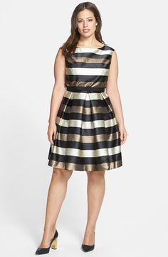 Eliza J Stripe Metallic Fit & Flare Dress (Plus Size) available at #Nordstrom