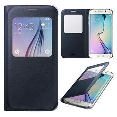 Samsung Galaxy S6 Edge svart flipfodral Överdrag 4507cdef53cb9