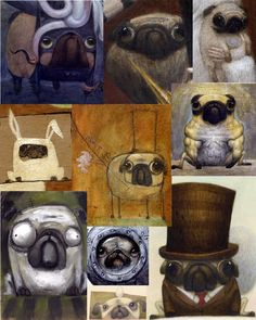 "billcarman: ""Pug inspiration has shown up in quite a few paintings. This is just a small sampling. Maybe you can recognize some of the paintings from which these were lifted. """