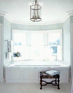 white master bathroom tub with light blue wallpaper Master Bathroom Tub, Blue Bathroom Decor, Mold In Bathroom, Bathroom Styling, White Bathroom, Bathroom Ideas, Bathrooms, Small Bathroom, Bathtub Ideas