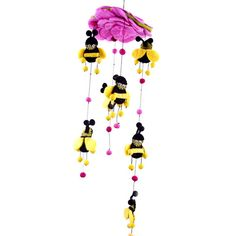 Pink Felt Bumble Bee Mobile Handmade Fair Trade