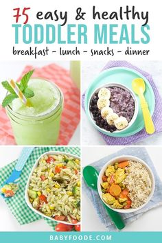 This Master List of 75 Toddler Meals is full of healthy and easy breakfast, lunch, snack and dinner recipes for your little one! Most of these recipes can be made in 5-30 minutes, are freezer-friendly and have allergy modifications. #toddlermeals #toddlerrecipes #healthy #easy Healthy Toddler Meals, Easy Healthy Recipes, Baby Food Recipes, Dinner Recipes, Easy Meals, Toddler Recipes, Toddler Snacks, Healthy Meals, Healthy Yogurt Parfait