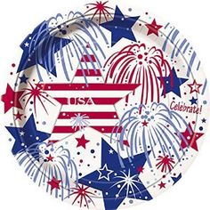"Amazon.com: Custom & Unique {9"" Inch} 8 Count Multi-Pack Set of Medium Size Round Disposable Paper Plates w/ Happy 4th of July Independence Day Text Confetti Celebration Party Event ""Red, White & Blue Colored"": Kitchen & Dining"