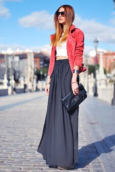 black skirt and red jacket!