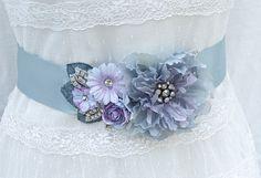 Romantic Bridal Sash-Wedding Sash In Soft Blue And Lavender With Vintage Adornment-$132.00 #agoddessdivine #blueweddings #blue #bridalsash #wedingdesssash #vintage #weddings