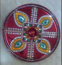 Indian bollywood rangoli colorful rangoli kundan rangoli for Aarti thali decoration with kundan