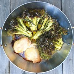 My Capricorn self loves familiar ❤️ Oven roasted broccoli and chicken thighs with ghee and olive oil. You can see the salt crystals on the broccoli in this pic! 375 for an hour.  I buy the skin-on/bone-in thighs so they don't dry out. #autoimmunepaleo #aiplifestyle #aipdiet