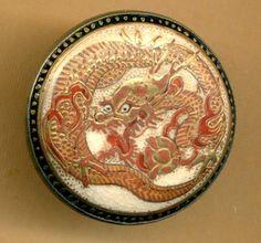 Antique Satsuma Button...LARGE DRAGON Set in Silver...Backmark