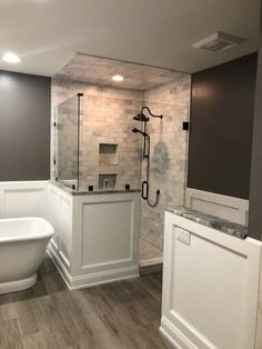 Creative Ways Grey Shower Tile Ideas Master Bath Expanding Master Bathroom Bathroom Tile Designs, Bathroom Renos, Bathroom Renovations, Modern Bathroom, Home Remodeling, Bathroom Ideas, Bathroom Small, Basement Bathroom, Bathroom Showers