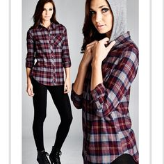 Super cute flannel with hood Must have for fall!! Beautiful colors of plaid. 100% cotton. Button up sleeve with detachable hood. NWOT⭐️please do not purchase this listing. ⭐️ price is firm unless bundled. Boutique Tops