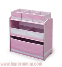 Ružový regál komoda do detskej izby detail