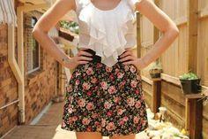 Floral skirt ruffled top