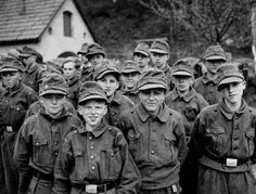"April 25, 1945: ""German boy soldiers captured by the 11th Division"". When the 11th Armoured Division advanced into the area of Kronach, they found all of the boys of 15 and 16 hd been ordered to don uniforms and get on the road to Bavaria."