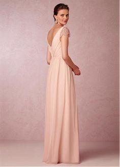Elegant Chiffon V-neck Neckline Full-length A-line Bridesmaid Dress