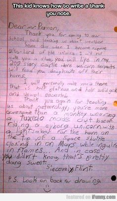 This Kid Knows How To Write A Thank You Note