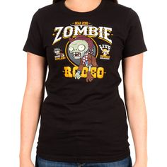 Everybody talks about the zombie apocalypse like it's a bad thing. What if it's awesome and there are zombie parades and zombie holidays and cool stuff like zombie rodeos? Wouldn't you feel silly for worrying? Get yourself a Zombie Rodeo t-shirt right now and join the party! Ladies premium 100% cotton black t-shirt