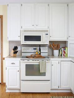 Backsplash ideas, kitchen appliances  white penny tile NB low microwave