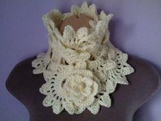 Crochet bufanda / Braga cuello con broche flor ganchillo mujer