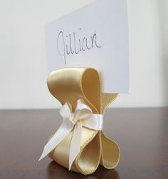 Table Settings Wedding Decor - Gold and Ivory Satin Ribbon Place Card Holders - One Hundred (100) - Customize Your Colors
