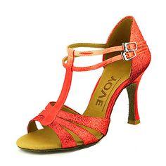 YFF Frauen tanzen Schuhe modernes Latein Tango Mid High Heels Größe 33-43, EW 2 Lila, 9,5