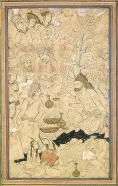 "Partly colored drawing pasted on an album leaf. ""A Prince with Courtiers in a Landscape."" Attributed to Muhammad Qasim Iran, Isfahan (Herat); c. 1650"