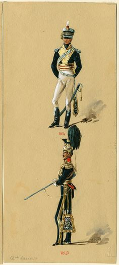 British; 12th Light Dragoons, Officer 1814 & 12th Lancers, Officer 1840 by Reginald Augustus Wymer