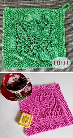 Free Knitting Pattern for Margaret Tulip Dishcloth Block - Beautifully detailed lace tulip design surrounded by seed stitch borders. Adapted for dish cloth or afghan… Knitted Squares Pattern, Knitted Dishcloth Patterns Free, Knitting Squares, Knitted Washcloths, Knit Dishcloth, Knitting Patterns Free, Crochet Patterns, Sweater Patterns, Knitting Ideas