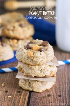 {Gluten Free} Peanut Butter Breakfast Cookies. i make these multiple times a month, theyre so good!!!