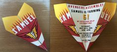 Custom The Falcon/Avengers Theme Paper Airplane Invitation! Personalize Verbiage, Colors & More! Perfect for Birthdays, Announcements, Etc!