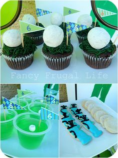 """Love the green jello with the mini marshmallow in it and the cupcakes with the """"golf ball"""" donut hole"""