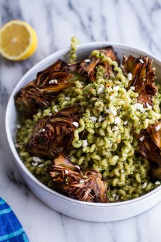 WMF Cutlery And Cookware - One Of The Most Trustworthy Cookware Producers Pan-Fried Lemony Artichokes With Asparagus Pistachio Pesto Pasta From Half Baked Harvest Wine Recipes, Pasta Recipes, Cooking Recipes, Pesto Pasta, Vegan Pasta, Pistachio Pesto, Vegetarian Recipes, Healthy Recipes, Half Baked Harvest