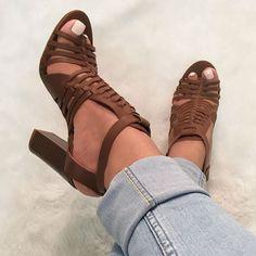 Multi Strap Chunky Sandal Heels