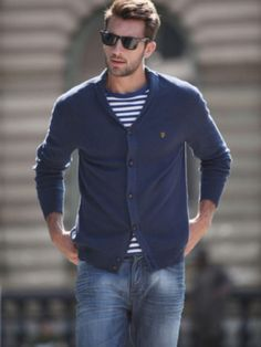 Thin Cardigan, Striped T Shirt, Nicely Fitted Jeans, Great Sunglasses and Loafers. Handsome Spring/Summer Weekender Look.