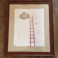 Cloud Climbing Will Corr oil pastel painting modern art contemporary ladder  #ArtNouveau