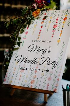Hanging floral Mendhi Party welcome sign from Mary + Shay's Indian Wedding C… Hanging floral Mendhi Party welcome sign from Mary + Shay's Indian Wedding Ceremony & Reception in Brooklyn. Menus, signs, and table numbers by Pineapple Street Designs. Wedding Ceremony Ideas, Indian Wedding Ceremony, Wedding Signage, Wedding Receptions, Wedding Mandap, Indian Wedding Night, Indian Wedding Gifts, Indian Wedding Theme, Punjabi Wedding
