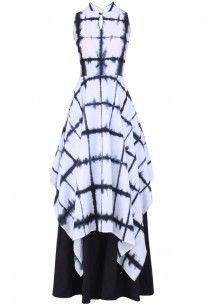 Black and White Tie and Dye Layered Dress  #blackandwhite #monochome…