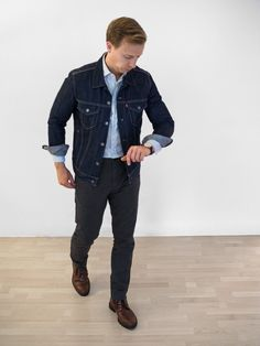 Dressing for the Conference Room to the Cocktail Lounge Stylish Mens Outfits, Casual Outfits, Men Casual, Men's Outfits, Fashion Outfits, Weekend Outfit, Weekend Wear, Denim Jacket Fashion, Mens Fashion