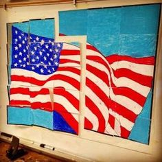Flag Mural and a Glue Stick - Art Projects for Kids Art Bulletin Boards, Kindergarten Art Projects, Art Classroom, Classroom Ideas, Murals For Kids, Stick Art, Collaborative Art, Projects For Kids, School Projects