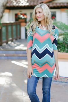Aqua-Multi-Colored-Chevron-Printed-3/4-Sleeve-Maternity-Top - want for this winter!