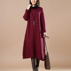 Women Casual Loose Cotton Knitting Sweater Red