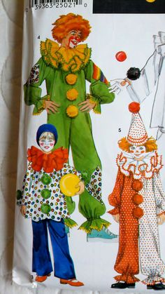 This is the exact pattern that I used to make Amy her clown costume for Halloween when she was approximately 3!  Simplicity 9801 Childrens Sewing Pattern Clown by Sutlerssundries, $6.00