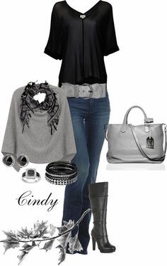 I love this combo!   The poncho is really cute!  I could not wear those boots for long though!  Ouch!
